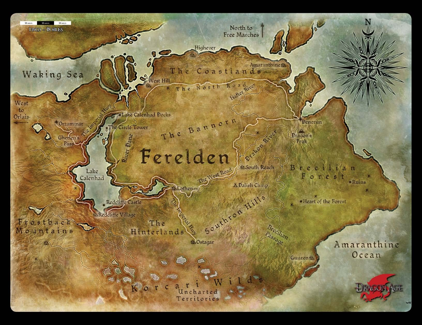 kingdom of ferelden outlying areas dragon age with midage
